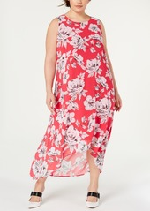 Alfani Plus Size Floral-Print High-Low Dress, Created for Macy's