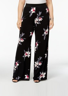 Alfani Plus Size Floral-Print Palazzo Pants, Created for Macy's