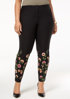 Alfani Plus Size Floral-Print Skinny Pants, Created for Macy's