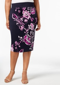Alfani Plus Size Floral-Print Skirt, Created for Macy's