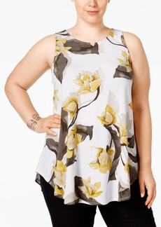Alfani Plus Size Floral-Print Swing Top, Only at Macy's