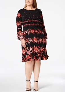 Alfani Plus Size Floral-Stripe Ruffled Dress, Created for Macy's
