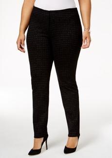 Alfani Plus Size Foil-Check Ponte-Knit Pants, Created for Macy's