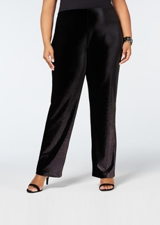 Alfani Plus Size Foil Velvet Wide-Leg Pants, Created for Macy's