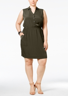 Alfani Plus Size Gathered-Waist Shirtdress, Only at Macy's