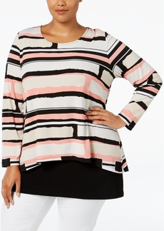 Alfani Plus Size Geometric-Print Popover Top, Only at Macy's