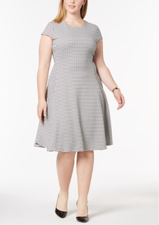 Alfani Plus Size Gingham-Print Fit & Flare Dress, Created for Macy's