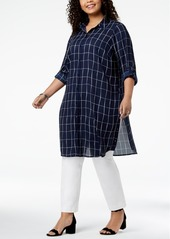 Alfani Plus Size Grid-Print Convertible Tunic Top, Created for Macy's