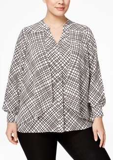 Alfani Plus Size Grid-Print Flyaway Blouse, Only at Macy's