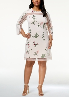 Alfani Plus Size Illusion-Trim Shift Dress, Created for Macy's