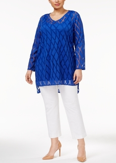 Alfani Plus Size Illusion Tunic Top, Only at Macy's