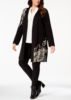Alfani Plus Size Intarsia-Knit Long Cardigan, Created for Macy's