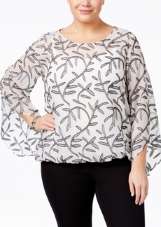 Alfani Plus Size Jacquard Angel-Sleeve Top, Only at Macy's