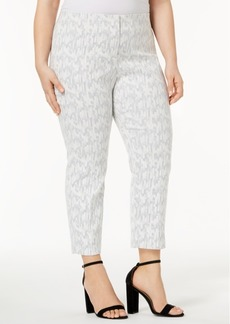 Alfani Plus Size Jacquard Ankle Pants
