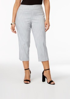 Alfani Plus Size Jacquard Cropped Pants, Only at Macy's