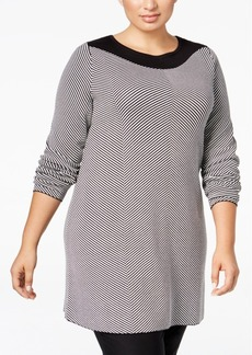 Alfani Plus Size Jacquard-Knit Chevron Tunic Sweater, Only at Macy's