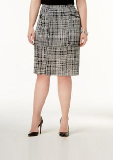 Alfani Plus Size Jacquard Pencil Skirt, Created for Macy's