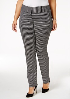 Alfani Plus Size Jacquard Slim-Leg Pants, Created for Macy's