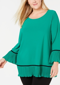 Alfani Plus Size Knit Pleated-Hem Top, Created for Macy's