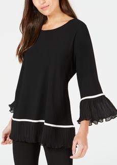 Alfani Plus Size Knit Pleated-Hem Top, Created for Macy's