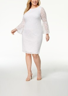 Alfani Plus Size Lace Bell-Sleeve Sheath Dress, Created for Macy's