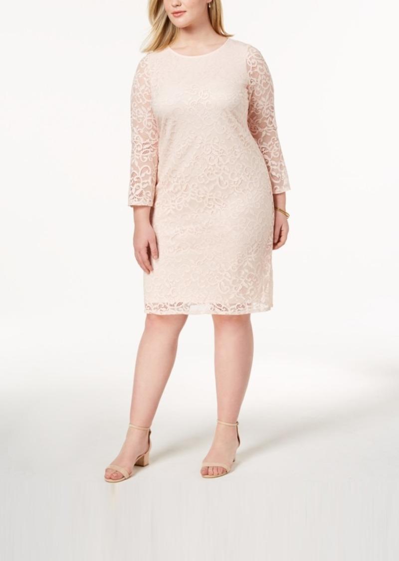 461db135b70 Alfani Alfani Plus Size Lace Bell-Sleeve Sheath Dress