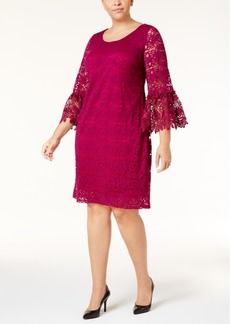 Alfani Plus Size Lace Bell-Sleeve Shift Dress, Created for Macy's