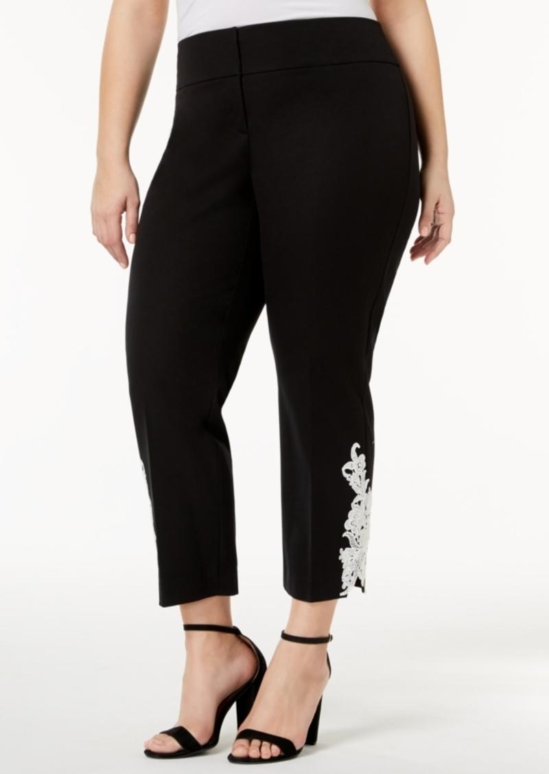 Alfani Plus Size Lace-Hem Pants, Created for Macy's