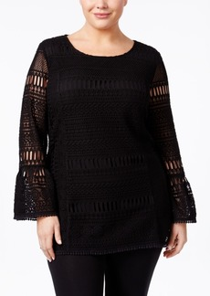 Alfani Plus Size Lace Illusion Top, Only at Macy's