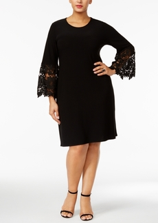 Alfani Plus Size Lace-Sleeve A-Line Dress, Only at Macy's