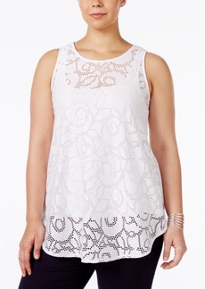 Alfani Plus Size Lace Swing Top, Only at Macy's