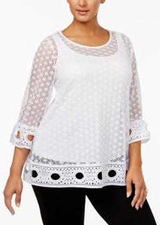 Alfani Plus Size Lace Top, Only at Macy's