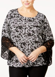 Alfani Plus Size Lace-Trim Blouson Top, Only at Macy's