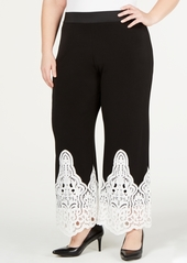 Alfani Plus Size Lace-Trim Pull-On Pants, Created for Macy's