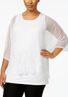 Alfani Plus Size Lacy Mesh Overlay Top, Only at Macy's