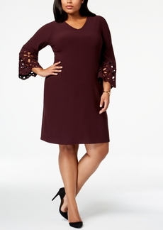 Alfani Plus Size Lasercut-Sleeve A-Line Dress, Created for Macy's