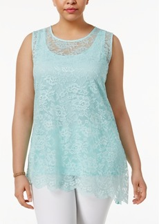 Alfani Plus Size Layered-Look Lace Tank, Only at Macy's