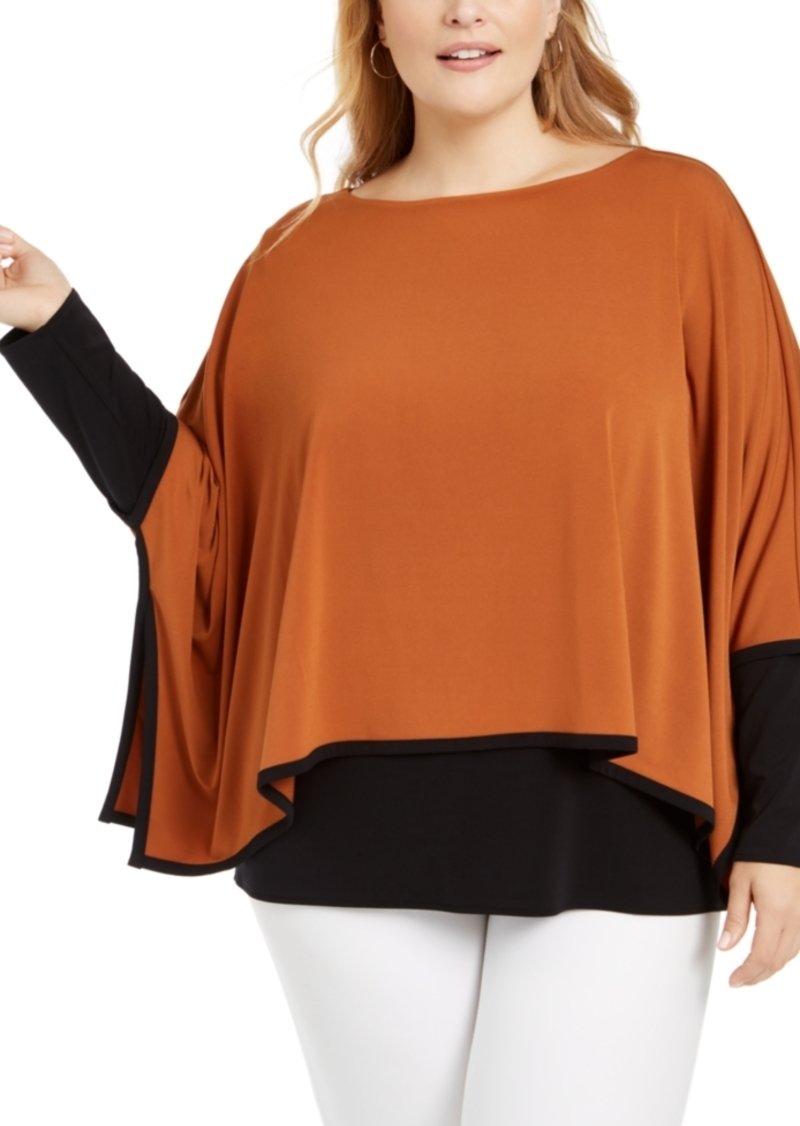 Alfani Plus Size Layered-Look Poncho Top, Created For Macy's
