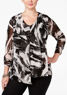 Alfani Plus Size Layered Mesh Blouse, Only at Macy's