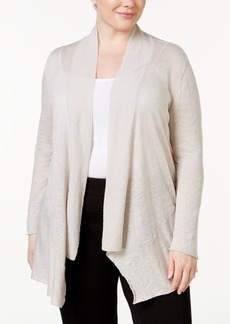 Alfani Plus Size Linen Open-Front Cardigan, Only at Macy's