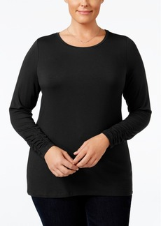 Alfani Plus Size Long-Sleeve Crew-Neck Top
