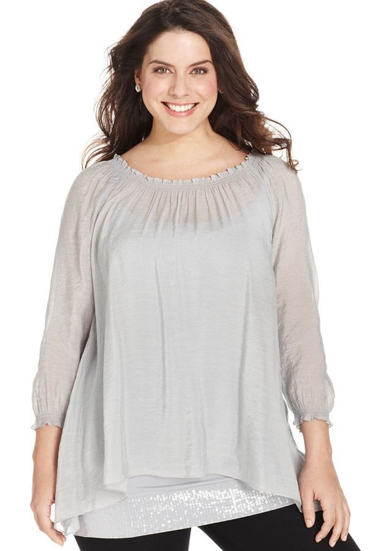 Alfani Plus Size Long-Sleeve Sequin-Hem Tunic Top
