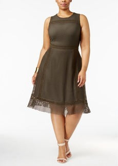 Alfani Plus Size Mesh-Overlay Fit & Flare Dress, Created for Macy's