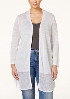 Alfani Plus Size Mesh-Panel Long Cardigan, Only at Macy's