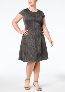Alfani Plus Size Metallic Fit & Flare Dress, Created for Macy's