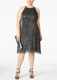 Alfani Plus Size Metallic Halter Shift Dress, Only at Macy's