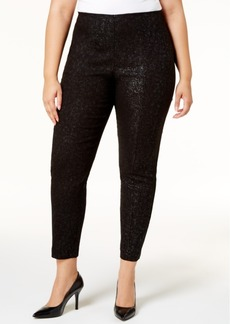Alfani Plus Size Tummy-Control Metallic-Knit Pull-On Pants, Created for Macy's