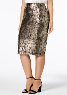 Alfani Plus Size Metallic Pencil Skirt, Created for Macy's