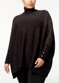 Alfani Plus Size Metallic Poncho Sweater, Created for Macy's