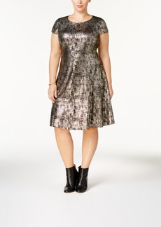 Alfani Plus Size Metallic-Print A-Line Dress, Created for Macy's
